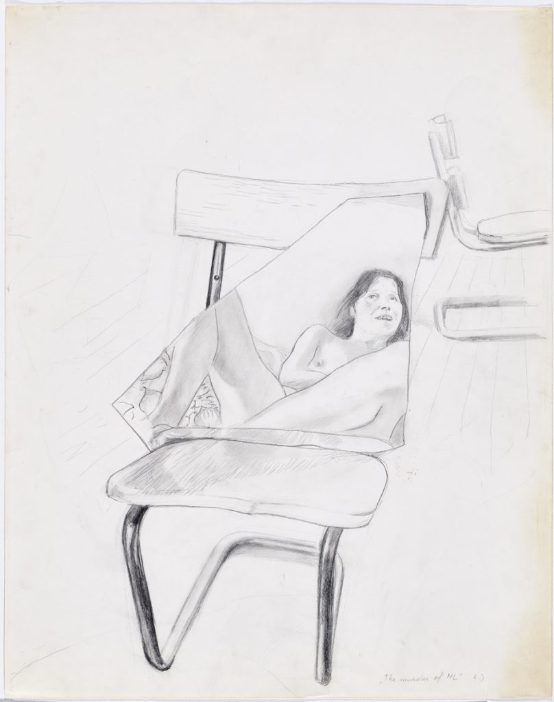 "The murder of ML II. Who is knocking at the door?, 1973 Pencil on paper, 28.54 x 22.44 inches, 72.5 x 57 cm Titled lower right ""'The murder of ML' 2.)"" © Maria Lassnig Foundation, photo: Roland Krauss."