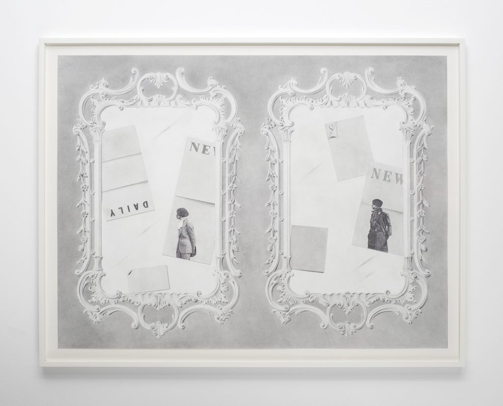 Milano Chow Mirrors (Daily, News, S, News) 2016 Graphite, ink, flashe and photo transfer on paper, 61 x 81.3 cms / 24 x 32 ins Framed. Courtesy the Artist; Mary Mary, Glasgow Photography: Max Slaven