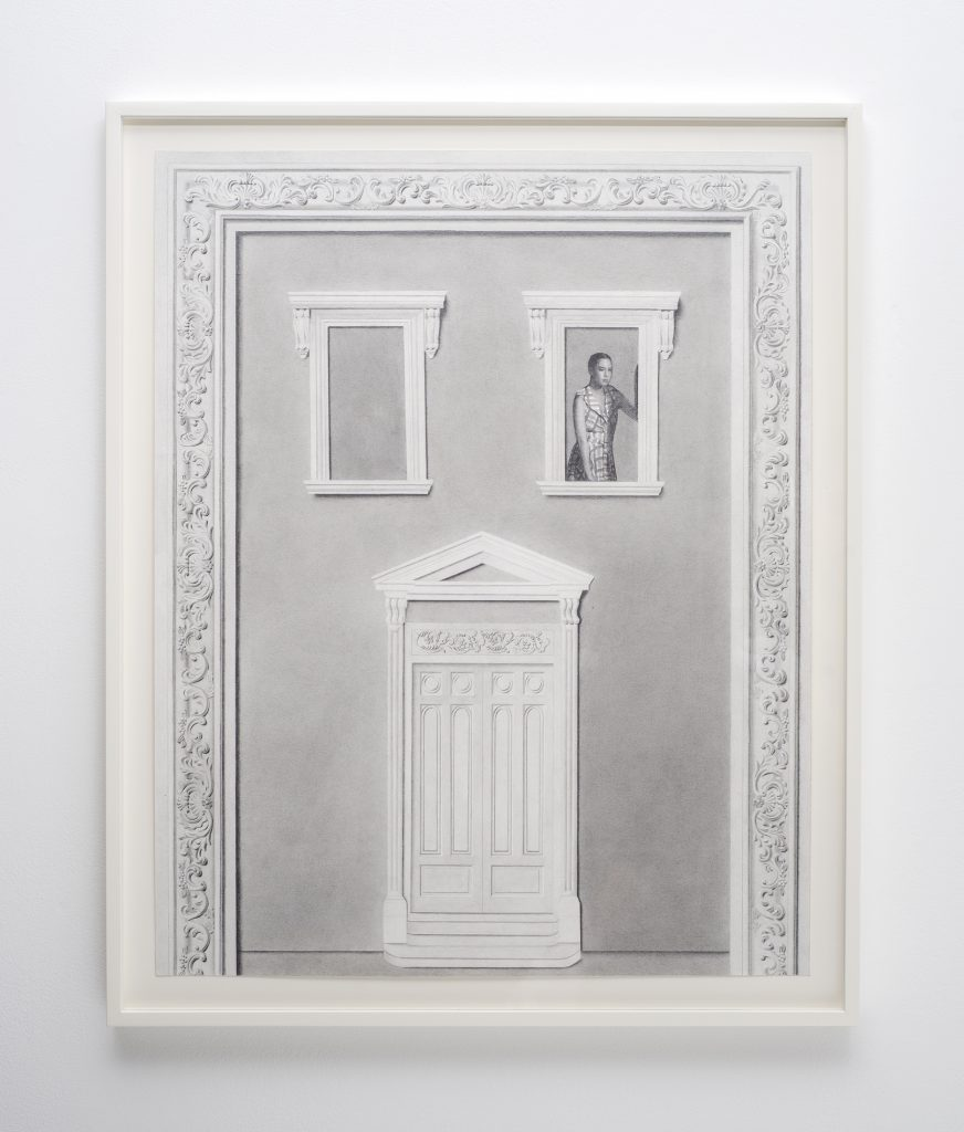 Milano Chow Exterior (Figure 2) 2016 Graphite, ink, flashe and photo transfer on paper, 62.2 x 49.5 cms / 24 1/2 x 19 1/2 ins Framed. Courtesy the Artist; Mary Mary, Glasgow Photography: Max Slaven