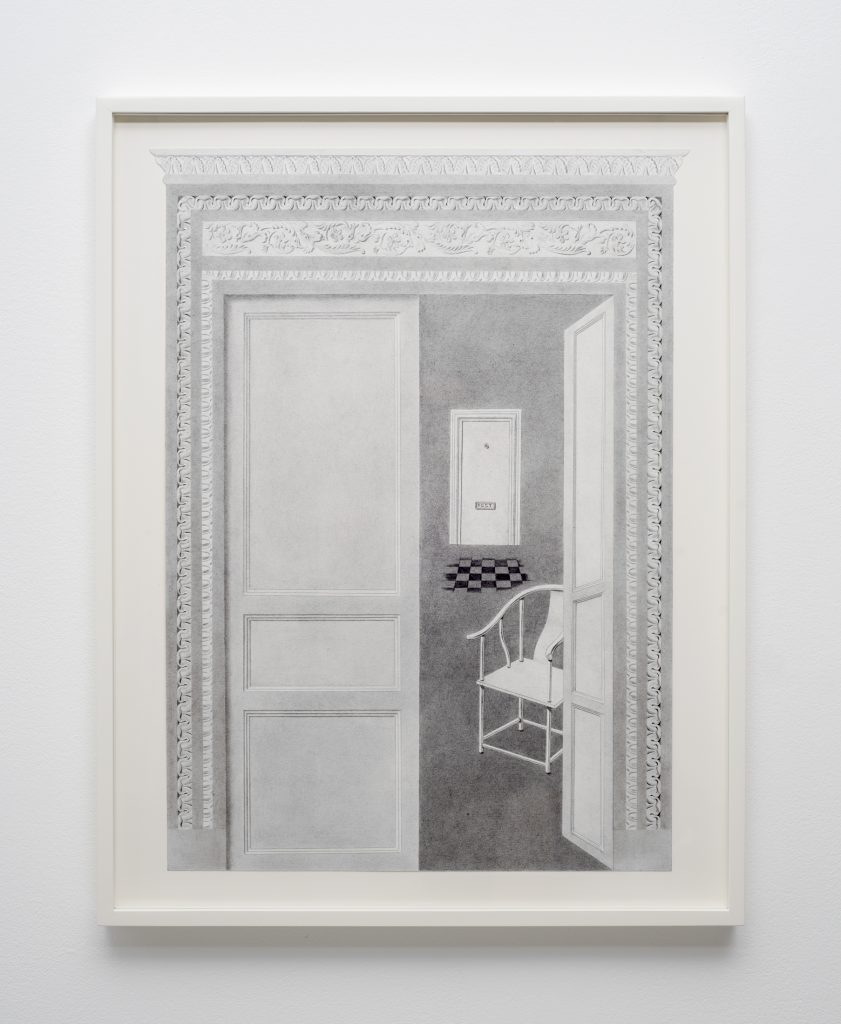 Milano Chow Entryway (POST) 2016 Graphite, ink and flashe on paper, 50.8 x 38.1 cms / 20 x 15 ins Framed. Courtesy the Artist; Mary Mary, Glasgow Photography: Max Slaven