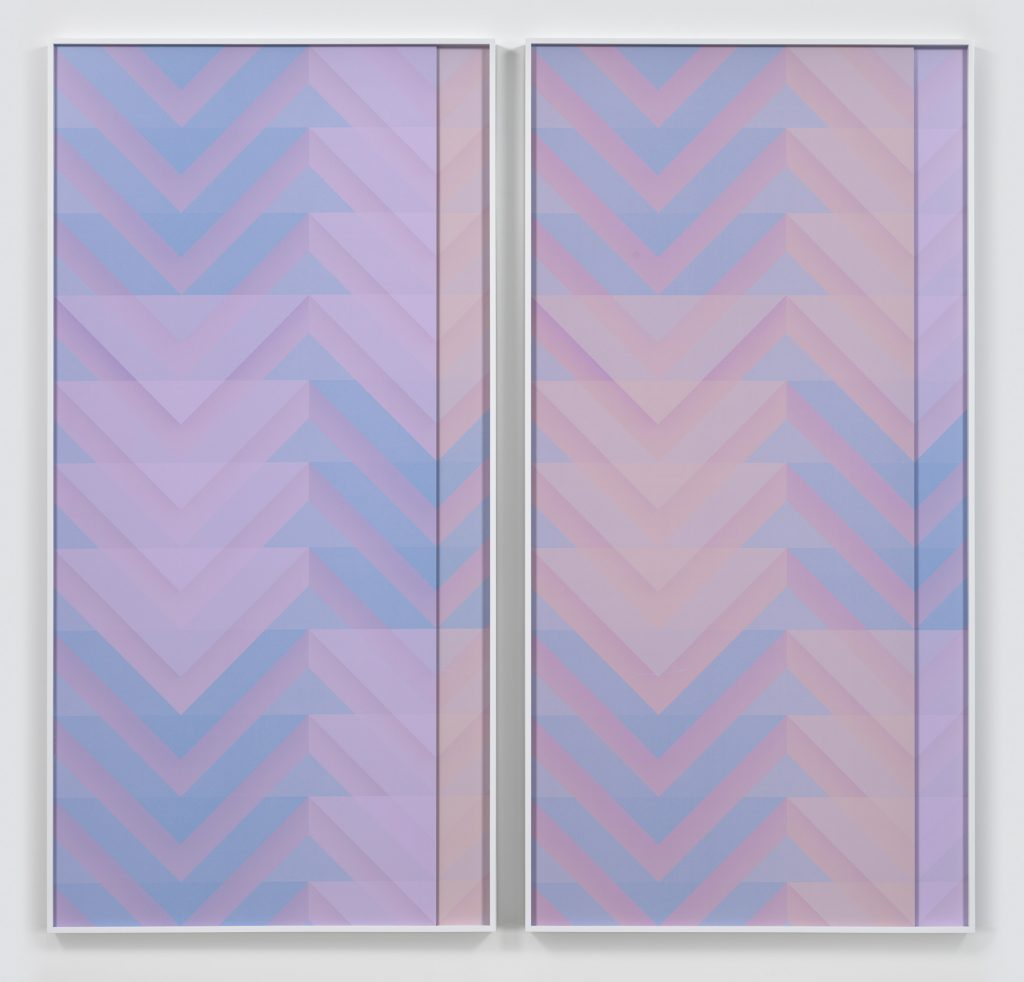 Sara VanDerBeek Roman Stripe IV, 2016 diptych; 2 digital c-prints each 96 7/8 x 48 7/8 inches (each framed) 246.1 x 124.1 cm, 96 7/8 x 100 3/4 inches (overall), 246.1 x 255.9 cm Edition of 3, 2 APs.Courtesy of the artist and Metro Pictures, New York