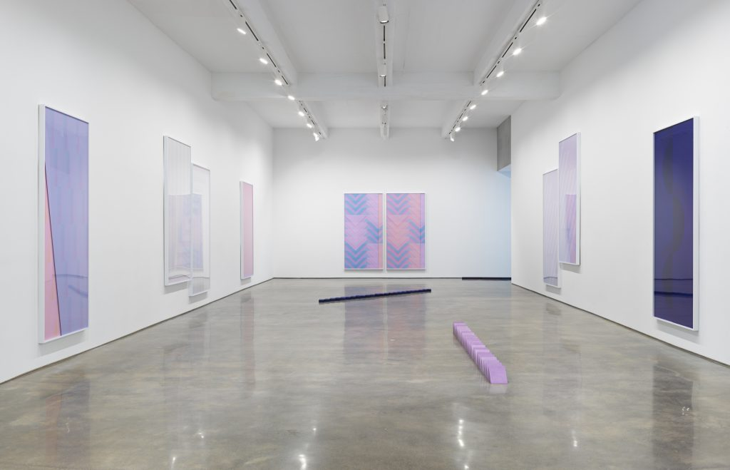 Sara VanDerBeek, Pieced Quilts, Wrapped Forms. Installation view, 2016. Metro Pictures, New York. Photo: Genevieve Hanson Courtesy of the artist and Metro Pictures, New York.