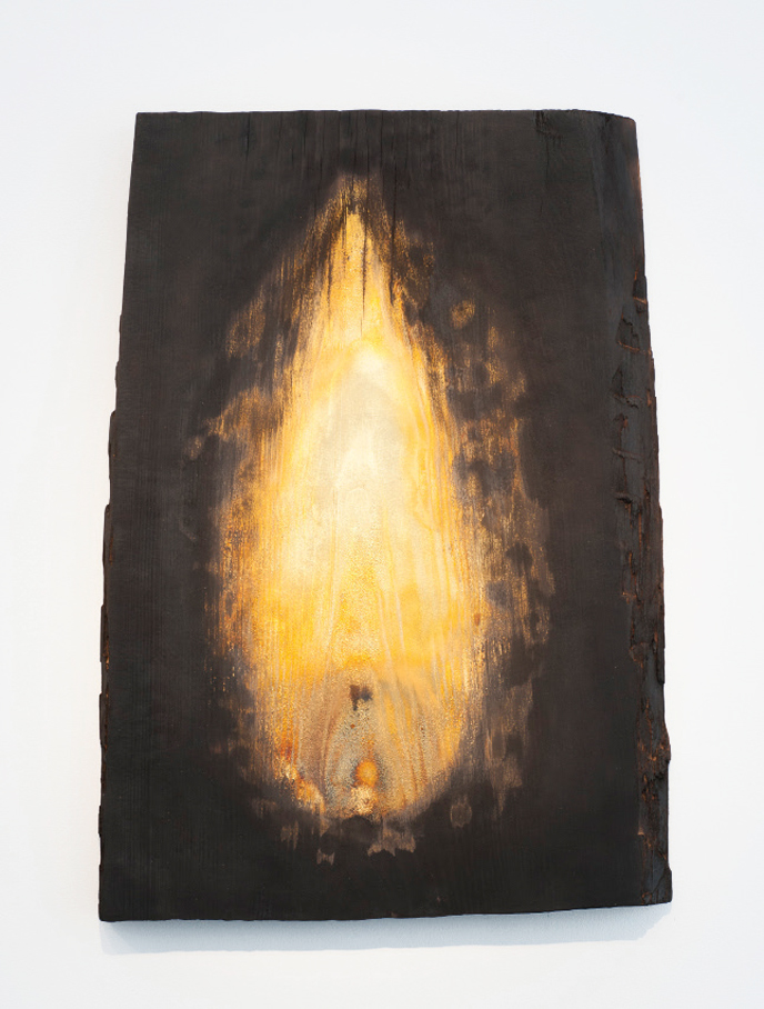 Fabrice Samyn Untitled from the series 'Burning is shining', 2016 Burned wood and gold leaves, 72 x 51 cm. Courtesy of Meessen de Clercq.