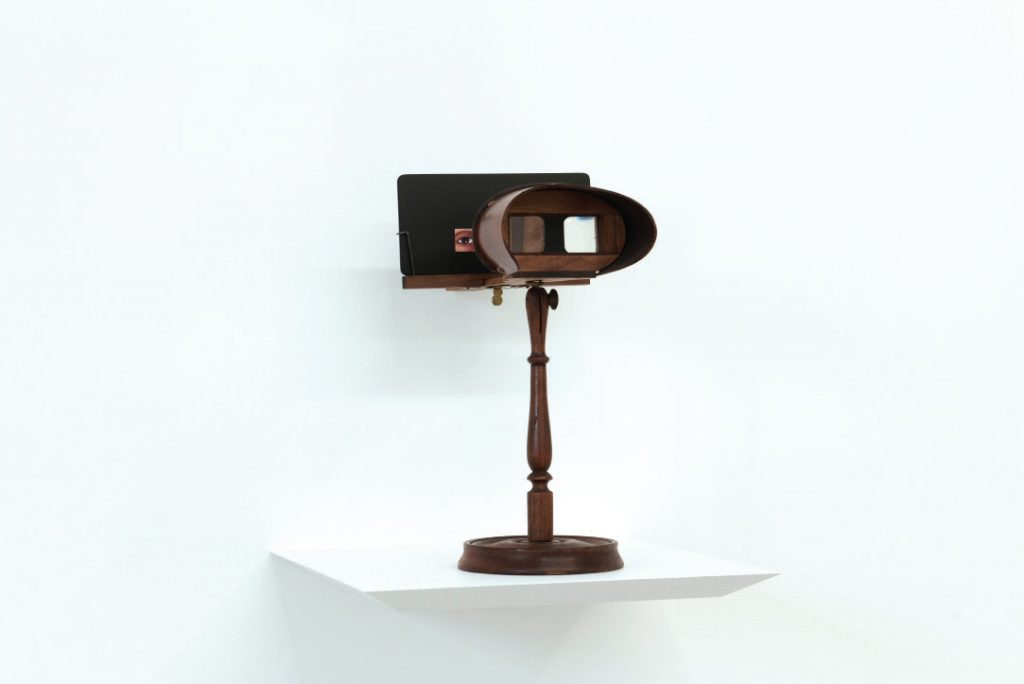 Fabrice Samyn, 'You and Eye', 2016 Wood, paper, mirror, 34 x 33 x 18 cm. Courtesy Meessen de Clercq.