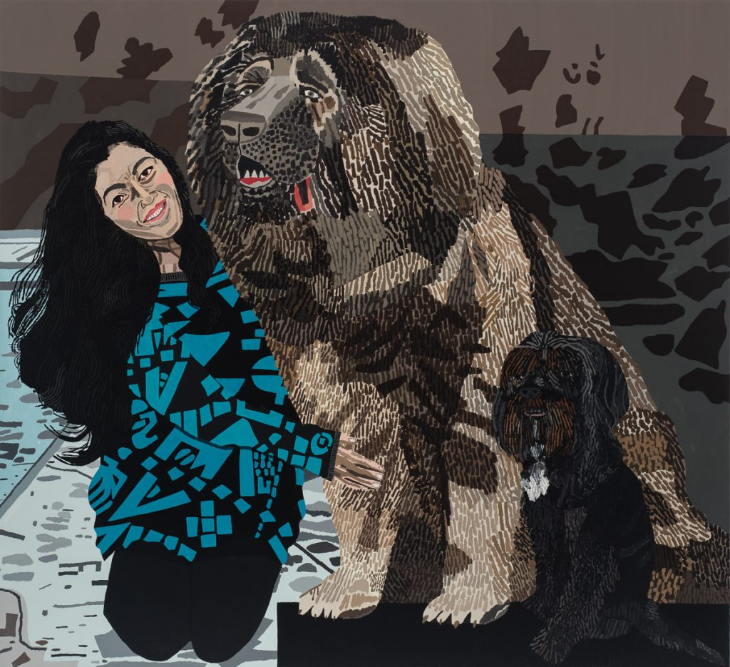 Jonas Wood 'Shio With Two Dogs', 2014 Oil and acrylic on linen, 53 x 58 inches (134.62 x 147.32 cm). Courtesy Anton Kern Gallery, New York / © Jonas Wood.