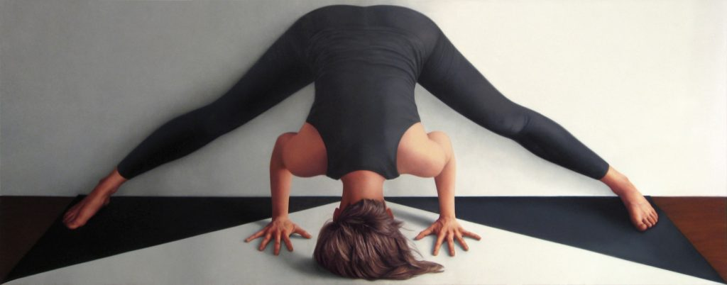 Colleen Asper {forward fold, legs wide; triple triangle}, 2014 Oil on canvas, 27 by 68-3/4 inches (68.6 by 170.8 cm). Courtesy the artist and On Stellar Rays.
