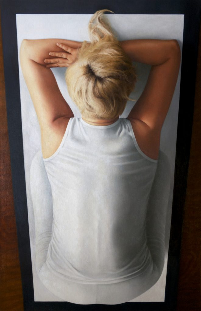 Colleen Asper {kneeling, head on clasped arms; double rectangle}, 2015 Oil on canvas, 39 by 25 inches, (99.1 by 63.5 cm). Courtesy the artist and On Stellar Rays.