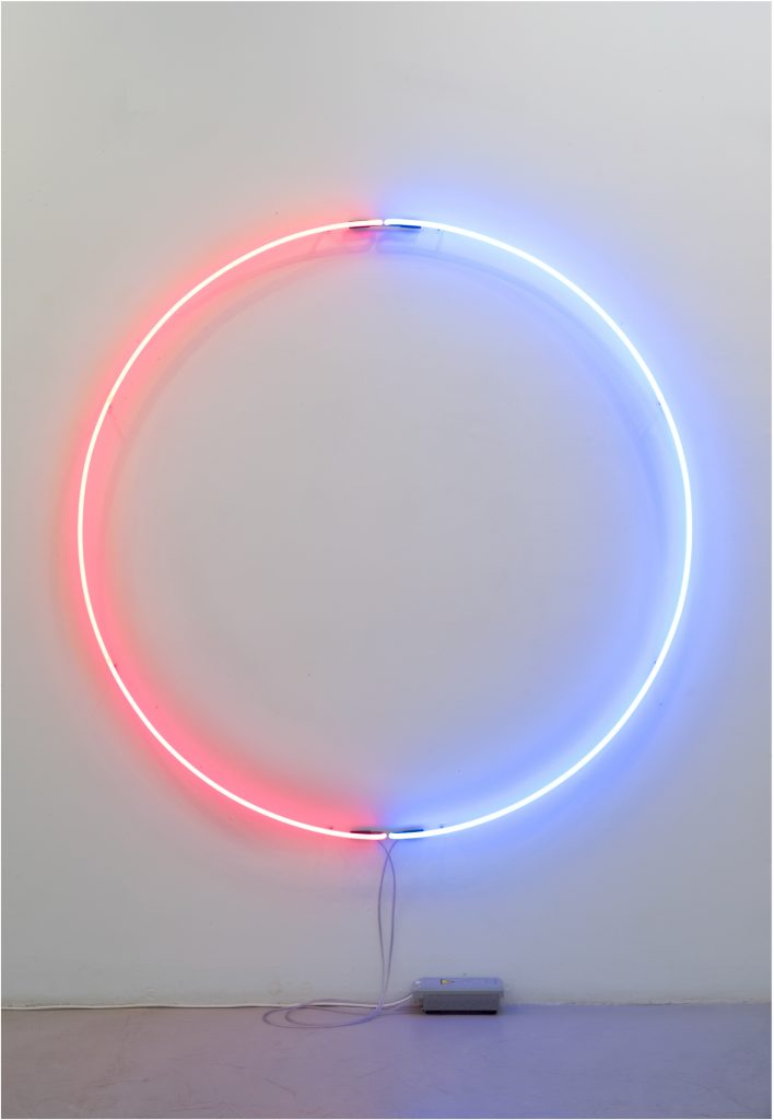 John Isaacs, Blood and tears, 2013, neon tubing, transformer, diam 180 cm x 8 cm, ed. of 4 + 2AP. Courtesy the artist and Aeroplastics contemporary, Brussels.