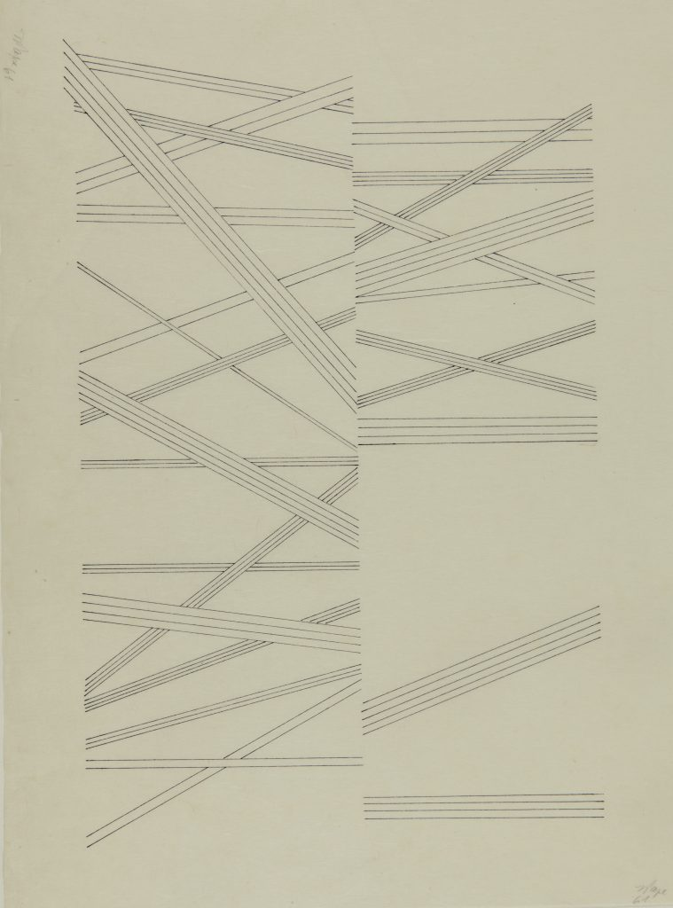 Lygia Pape Desenho (Drawing) 1961, Ink on Japanese paper, 45 x 33 cm / 17 3/4 x 13 in. © Projeto Lygia Pape Courtesy Projeto Lygia Pape and Hauser & Wirth Photo: Paula Pape