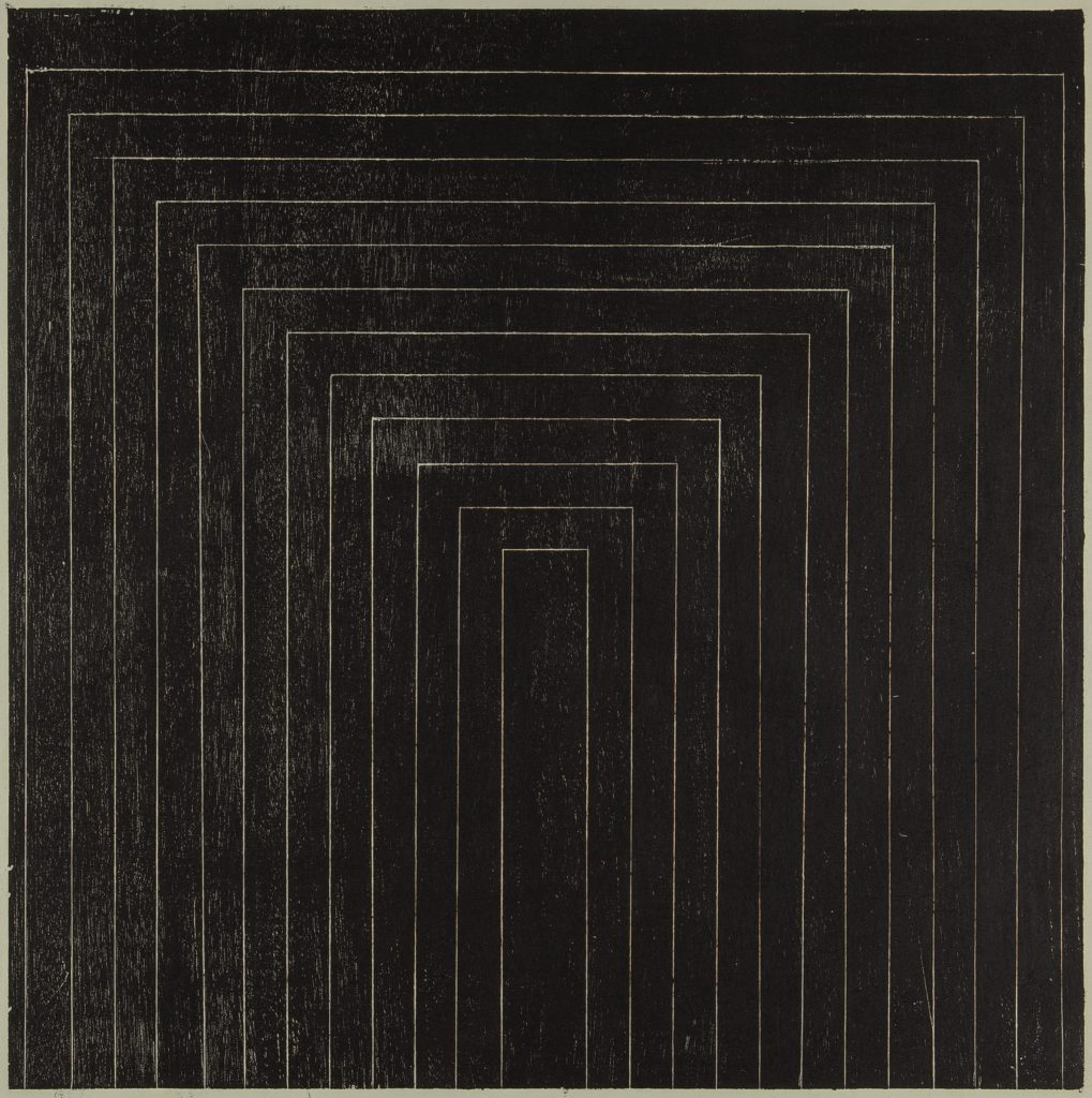 Lygia Pape 'Tecelar', 1957 Woodcut print on Japanese paper. Print: 50 x 50 cm / 19 5/8 x 19 5/8 in Paper: 65.8 x 89.3 cm / 25 7/8 x 35 1/8 in (folded to 63.2 cm width). All images: © Projeto Lygia Pape Courtesy Projeto Lygia Pape and Hauser & Wirth Photo: Paula Pape