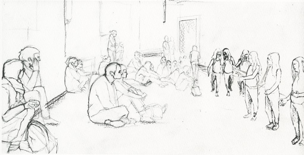 Philippe Parreno, Tino Sehgal's Annlee, drawn at Palais de Tokyo, 2013. Pencil on paper.
