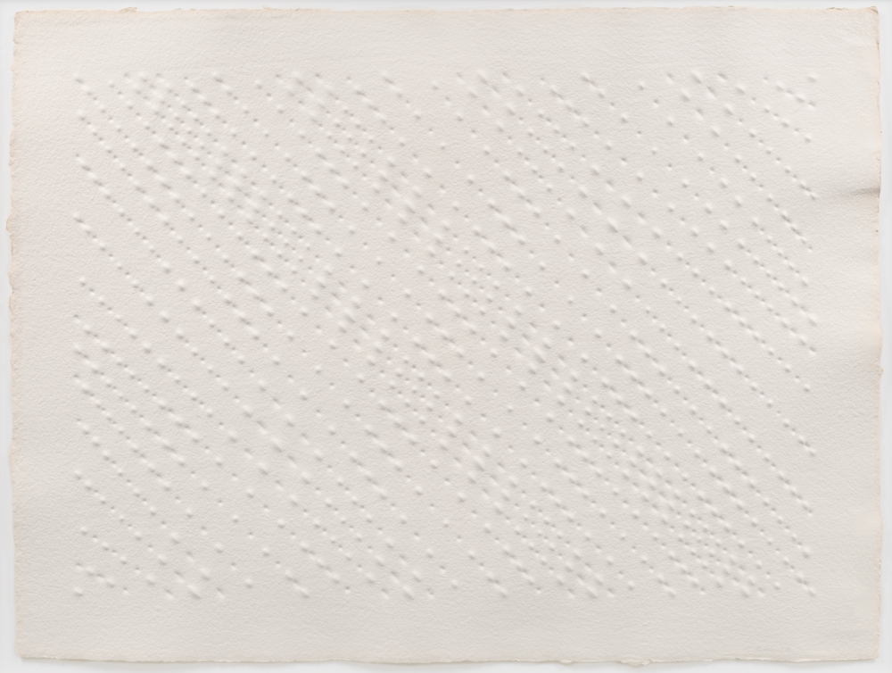 Enrico Castellani Senza titulo (Untitled), 1992 Relief on paper 35 x 47 inches (88.9 x 119.4 cm) © 2016 Enrico Castellani / Artists Rights Society (ARS), New York / SIAE, Rome; courtesy David Zwirner, New York/London