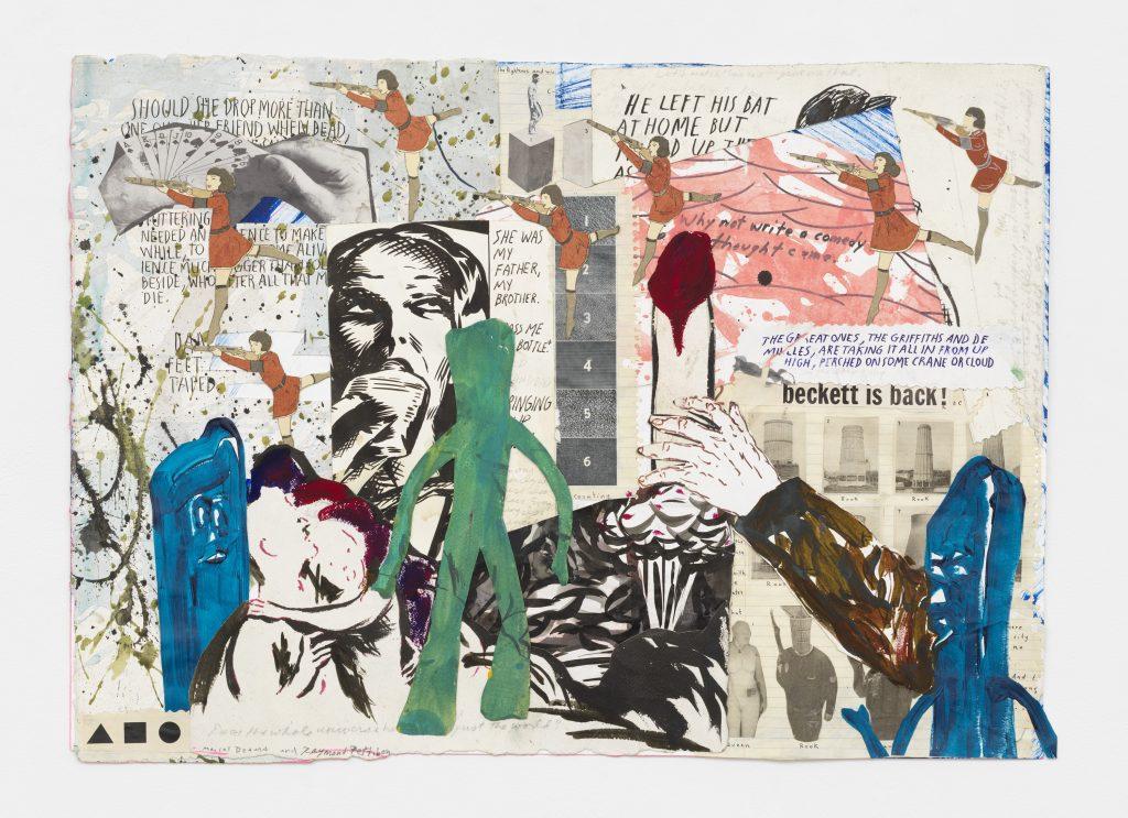 'Beckett is back', 2016 Graphite, ink, watercolor, gouache, acrylic, and collage on paper 17 1/4 x 24 1/4 inches (43.8 x 61.6 cm) Courtesy David Zwirner, New York/London