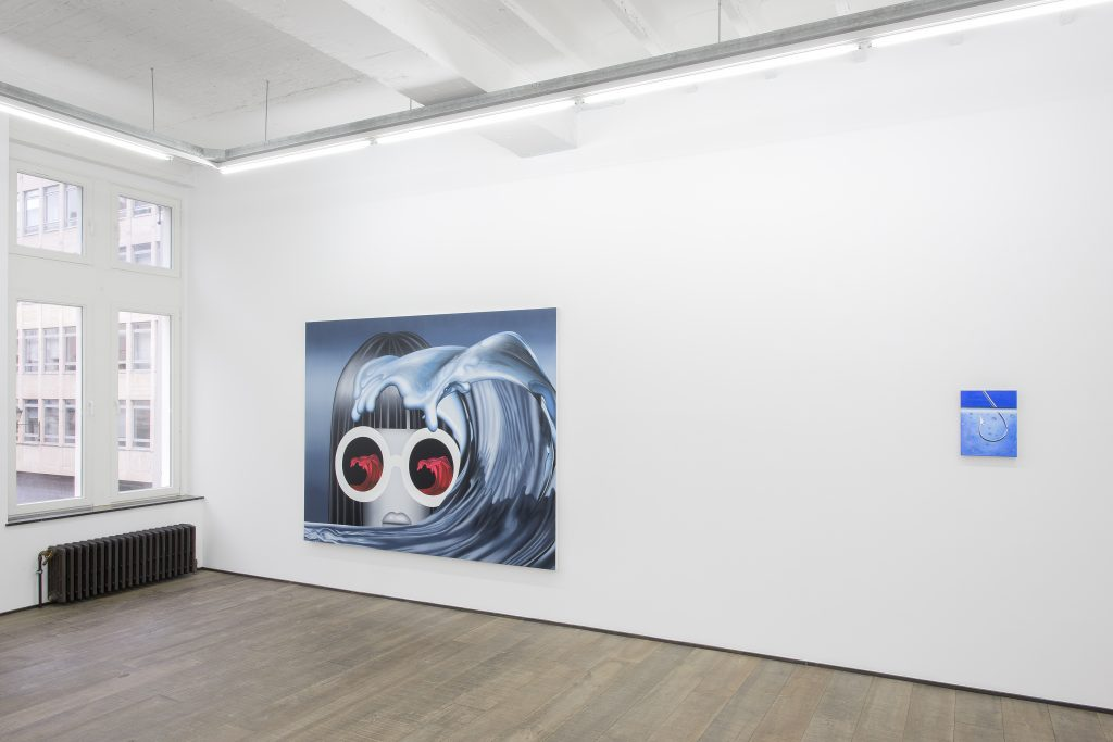 Emily Mae Smith 'Tesla Girls' Installation view.  courtesy of the artist and rodolphe janssen, Brussels Photo credit: Hugard & Vanoverschelde photography