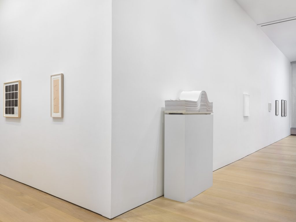 Installation view, 'Cut, Folded, Pressed and Other Actions', David Zwirner, New York, 2016