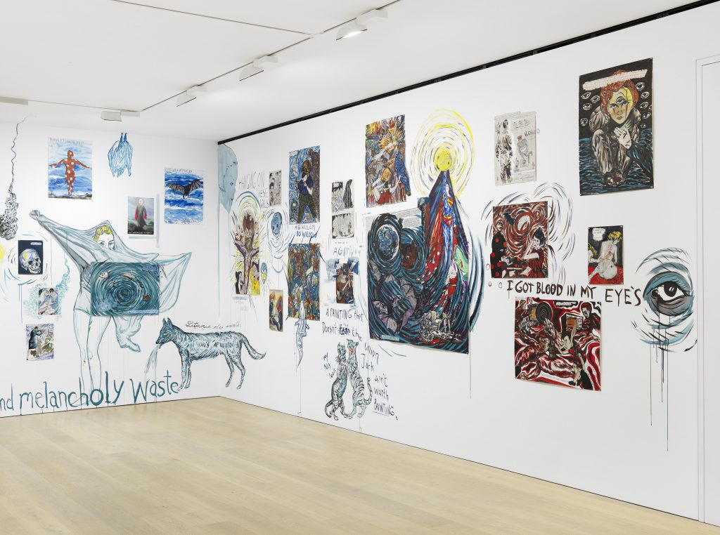 Installation view of Marcel Dzama and Raymond Pettibon's 'Let us compare mythologies' at David Zwirner London, October 5 – November 12, 2016