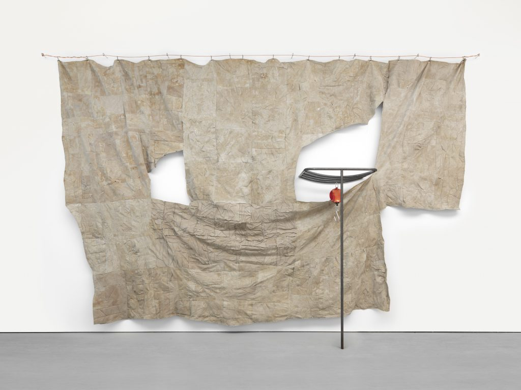 through patches of corn, wheat and mud, 2016 Latex on linen with steel and scale Overall: 174 x 268 x 30 1/2 inches (442 x 680.7 x 77.5 cm) Courtesy the artist and David Zwirner, New York/London