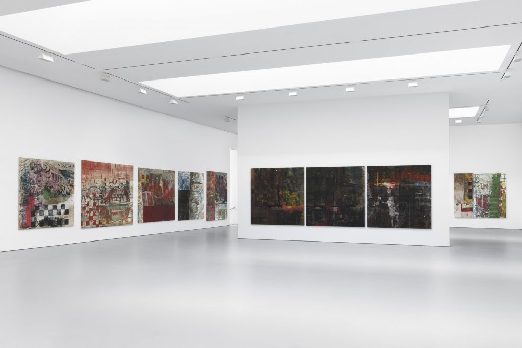 Installation view of Oscar Murillo 'through patches of corn, wheat and mud' at David Zwirner, New York 2016.