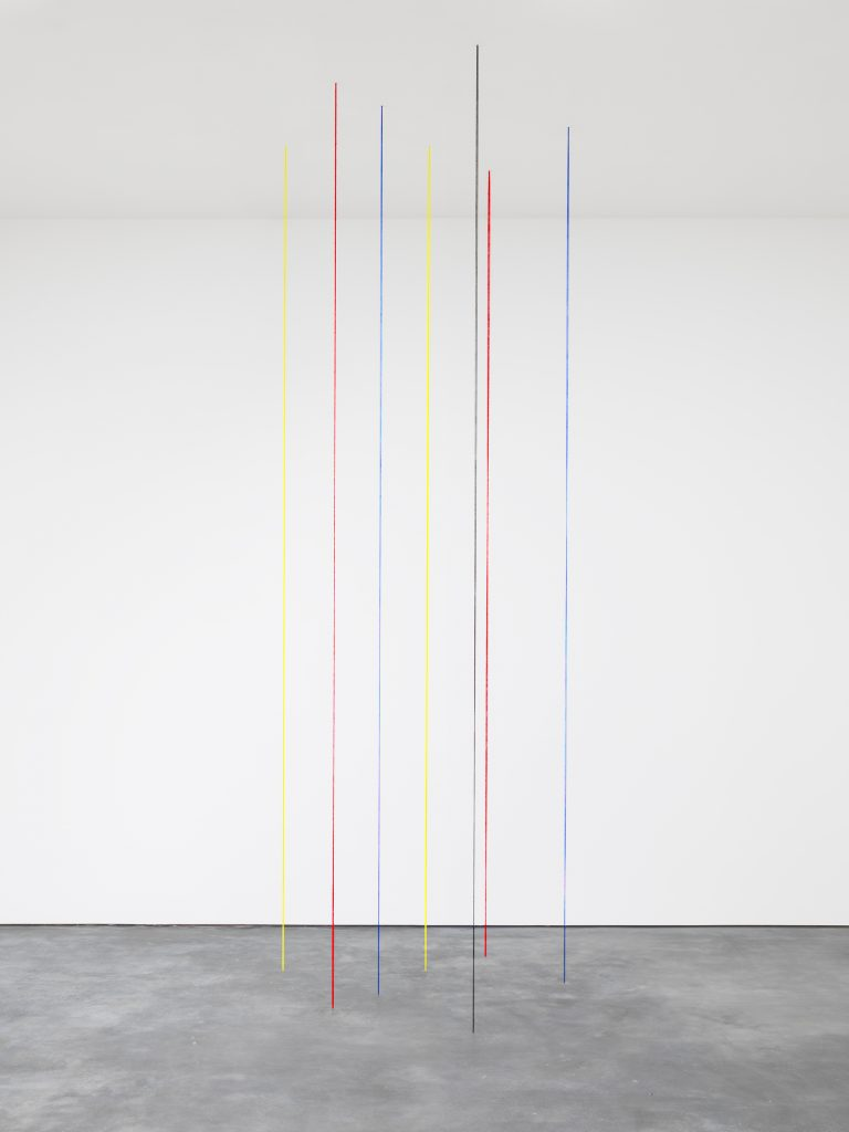 Untitled (Seven-part Vertical Construction), 1987 Yellow, red, blue, and black acrylic yarn Ceiling height x 74 x 76 inches (Ceiling height x 188 x 193 cm) © 2016 Fred Sandback Archive; courtesy David Zwirner, New York/London