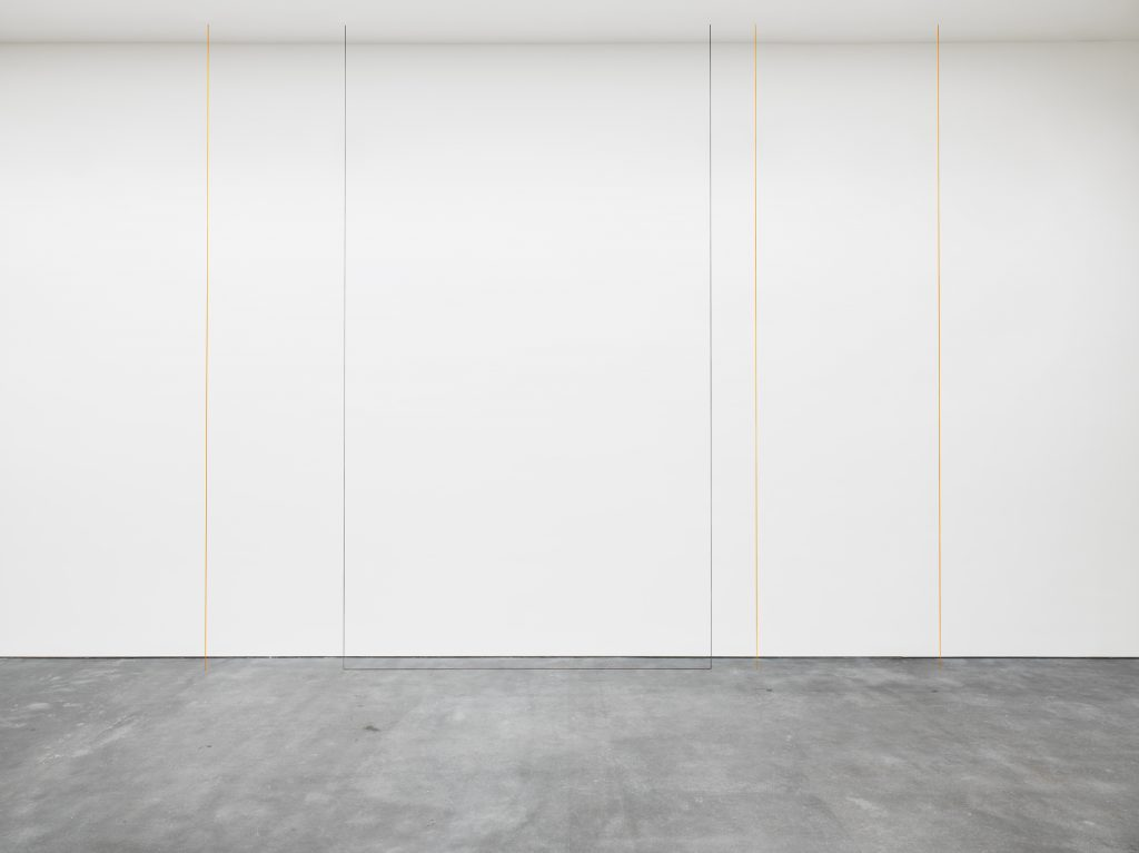 Untitled (Four-part Vertical Construction in Two Colors), 1987 Ochre and blue-gray acrylic yarn Ceiling height x 248 inches (Ceiling height x 629.9 cm) The Menil Collection, Houston, Purchased in loving memory of Marion Barthelme with funds provided by The Brown Foundation, Inc., Louisa Stude Sarofim, Franci and Jim Crane, Nina and Michael Zilkha, Janet and Paul Hobby, William F. Stern, David and Anne Kirkland, Janie C. Lee and David B. Warren, and Tom and Marcy Taub Wessel © 2016 Fred Sandback Archive; courtesy David Zwirner, New York/London