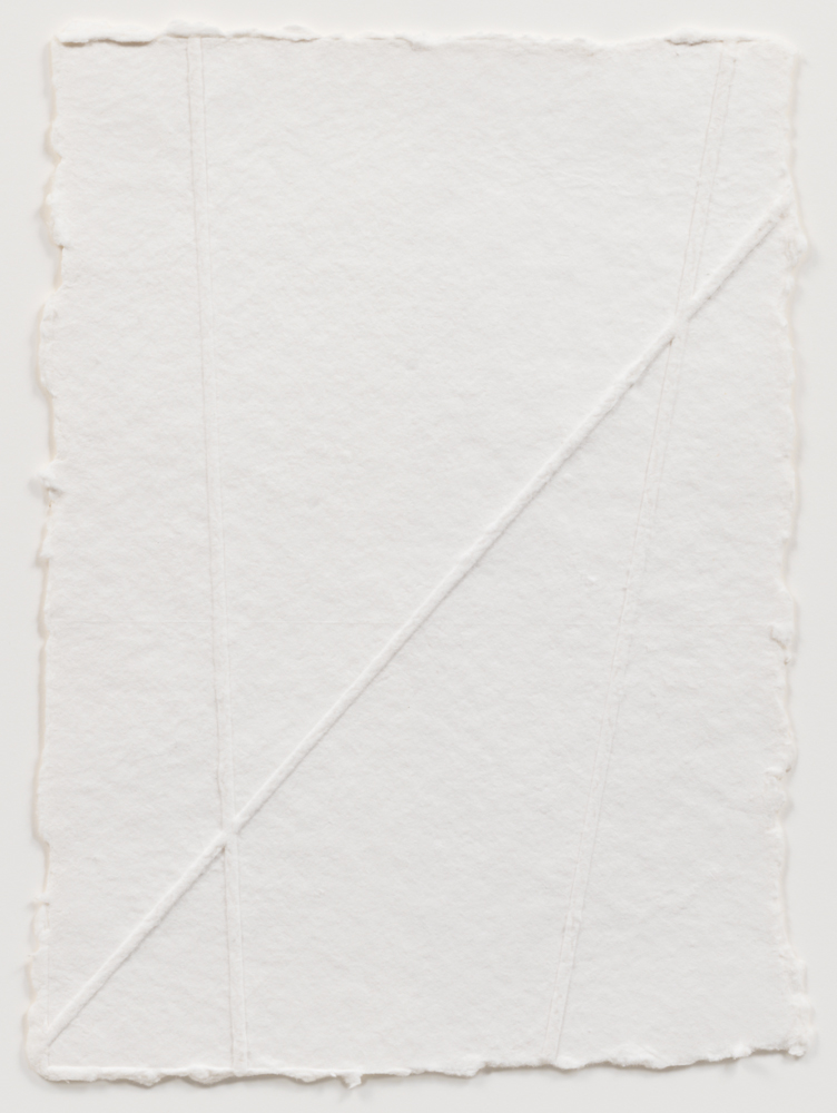 Fred Sandback Untitled, ca. 1996-2003 Inkless embossing on handmade paper with deckle edge 13 x 9 1/2 inches (33 x 24.1 cm) © 2016 Fred Sandback Archive; courtesy David Zwirner, New York/London