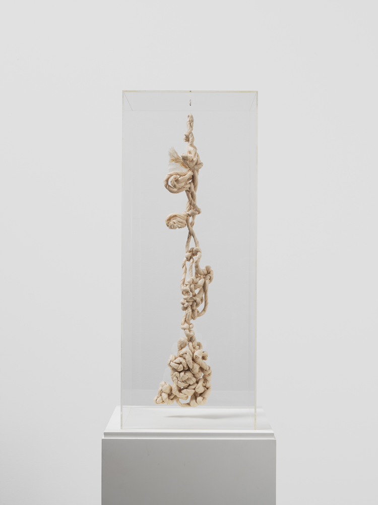 Mira Schendel Droguinha [Little Scrap Nothing], 1986 Twisted and braided sheets of rice paper 18 1/2 x 5 9/10 x 3 9/10 inches (47 x 15 x 9.9 cm) © 2016 Estate of Mira Schendel; courtesy David Zwirner, New York/London
