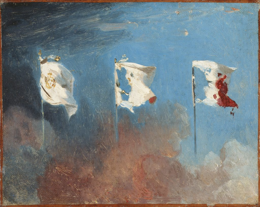 Léon COGNIET, Les Drapeaux (The flags), 1830, oil on canvas. Musée des Beaux-Arts, Orléans. Photo: François Lauginie