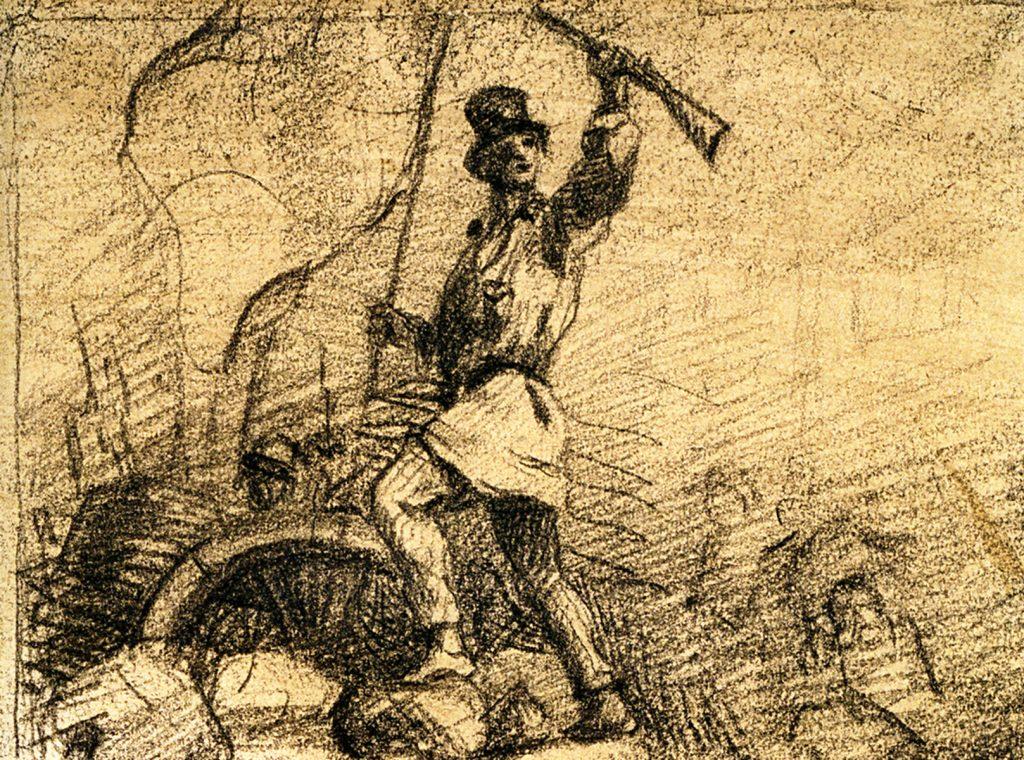 """Gustave COURBET, Révolutionnaire sur une barricade (Revolutionary on a barricade: draft frontispiece for """"Le Salut public""""), 1848, Charcoal on paper. Musée Carnavalet — Histoire de Paris. © Musée Carnavalet / Roger-Viollet."""