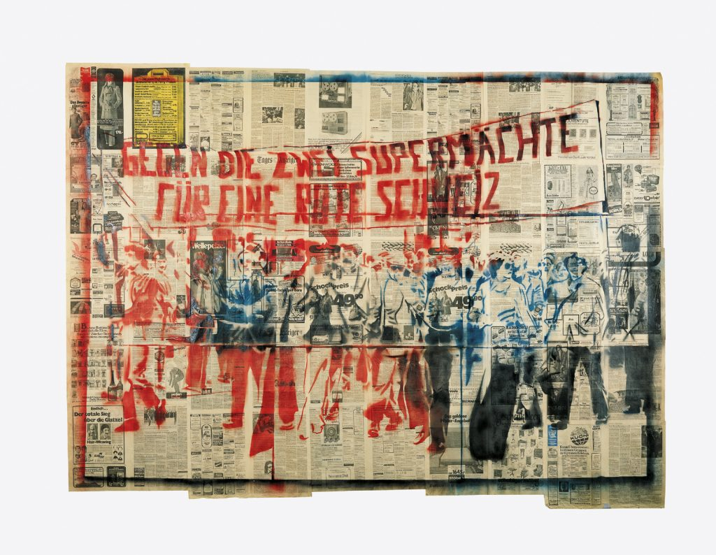 Sigmar POLKE, Gegen die zwei Supermächte - für eine rote Schweiz (1e version) (Against the two superpowers – for a red Switzerland) (1st version) 1976, spray paint and stencil on paper. Ludwig Forum für internationale Kunst, Aachen © The Estate of Sigmar Polke, Cologne /ADAGP, Paris, 2016.