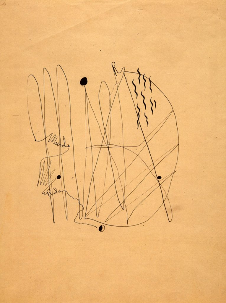 Federico GARCÍA LORCA, Mierda (Shit), 1934, calligram, Indian ink. Federico García Lorca foundation, Madrid. © Federico García Lorca foundation, Madrid / VEGAP.