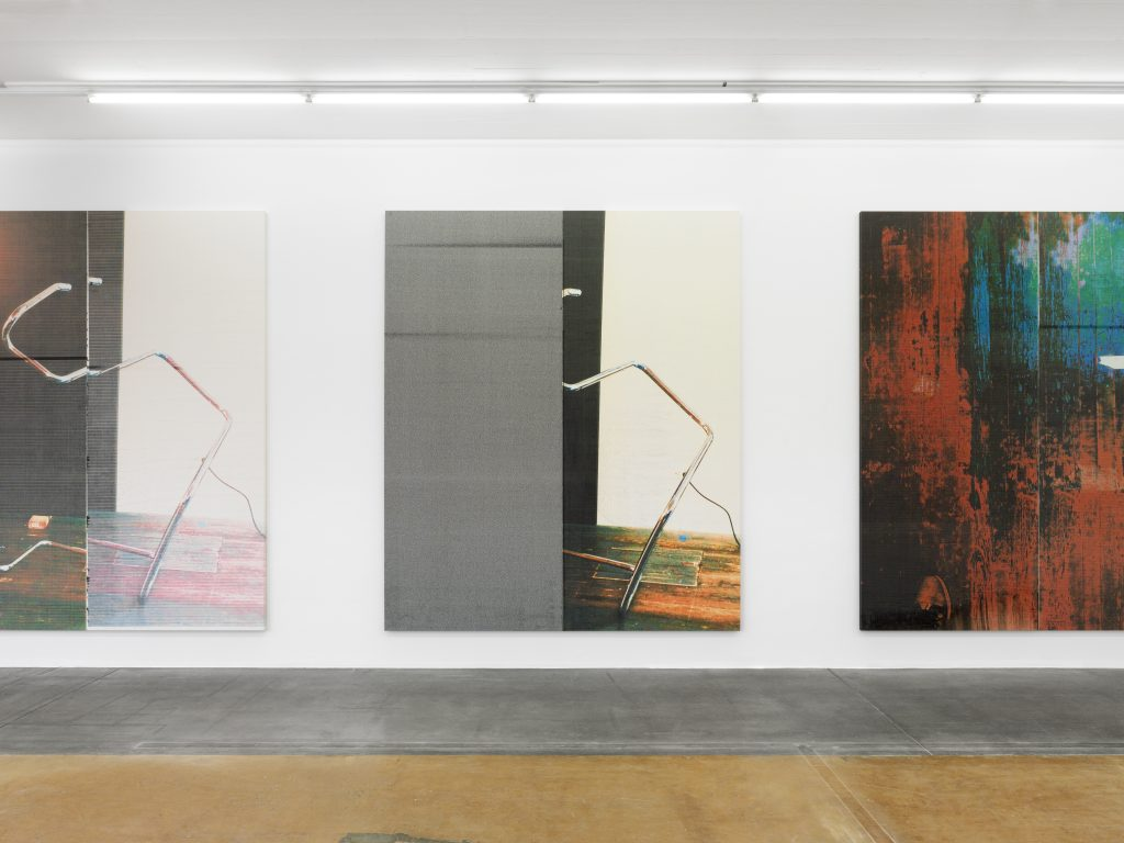 View of Wade Guyton's exhibition (from left to right: Untitled, 2016; Untitled, 2016, and Untitled, 2016, courtesy: the artist, New York), MAMCO, 2016. Photo: Annik Wetter — MAMCO, Geneva