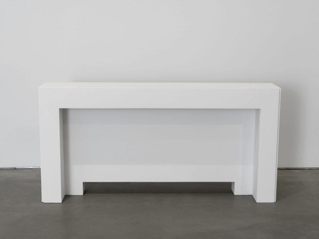 Jacob Kassay, 'BRU', 2016 Aluminum, urethane, 28 3/8 x 57 3/4 x 10 7/8 inches, (72.1 x 146.7 x 27.6 cm). Courtesy the artist and 303 Gallery.