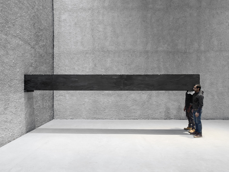 Santiago Sierra 'Object measuring 600 x 57 x 52 cm constructed to be held horizontally to a wall', performance 2001 - 2016. 600 x 52 x 57 cm.  Courtesy König Galerie.