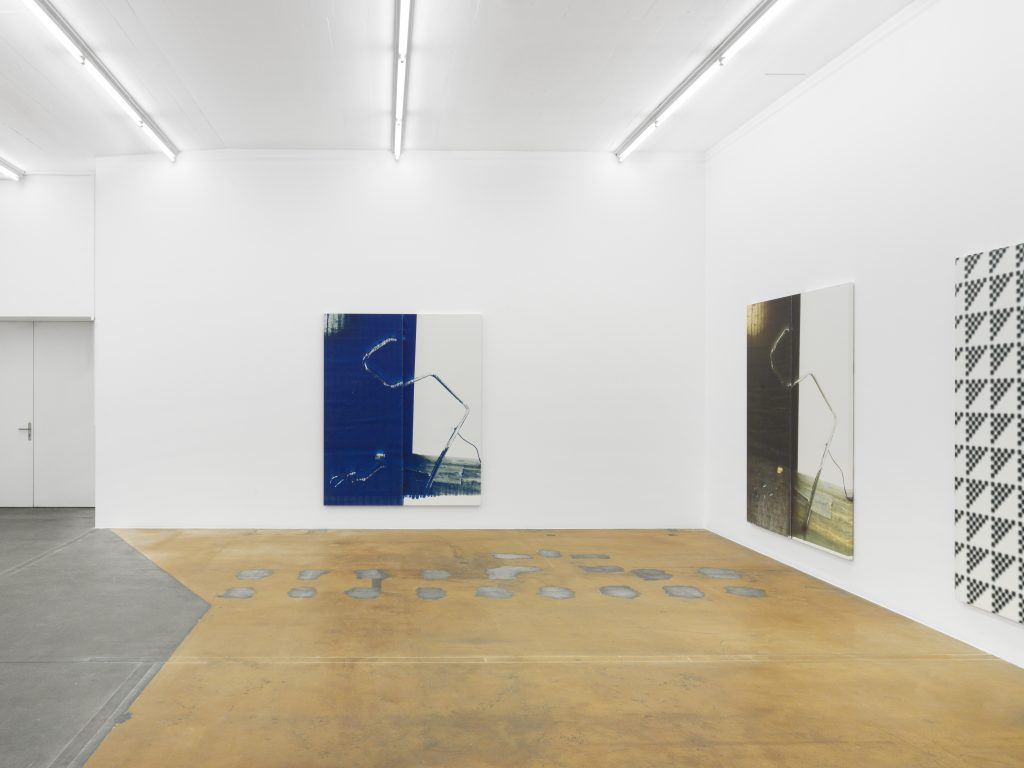 View of Wade Guyton's exhibition, (from left to right : Untitled, 2015; Untitled, 2015, and Untitled, 2015, courtesy: the artist, New York), MAMCO, 2016. Photo: Annik Wetter — MAMCO, Geneva