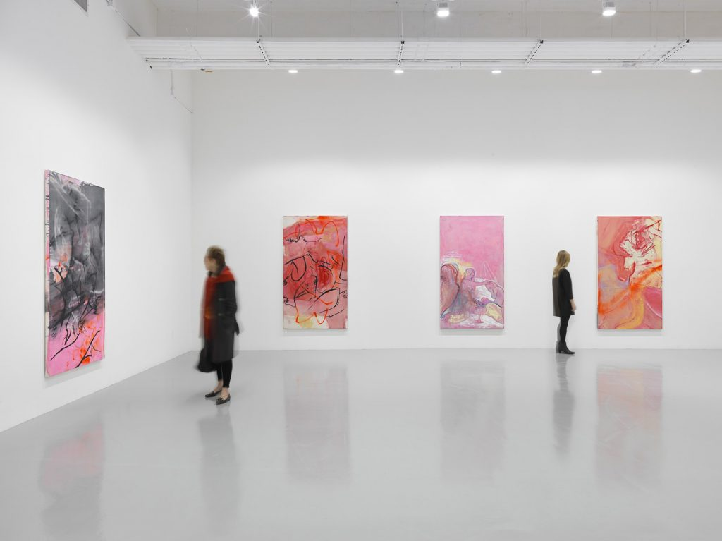 Installation view, 'Rita Ackermann. KLINE RAPE' Hauser & Wirth New York, 22nd Street Photo: Genevieve Hanson © The artist. Courtesy Hauser & Wirth