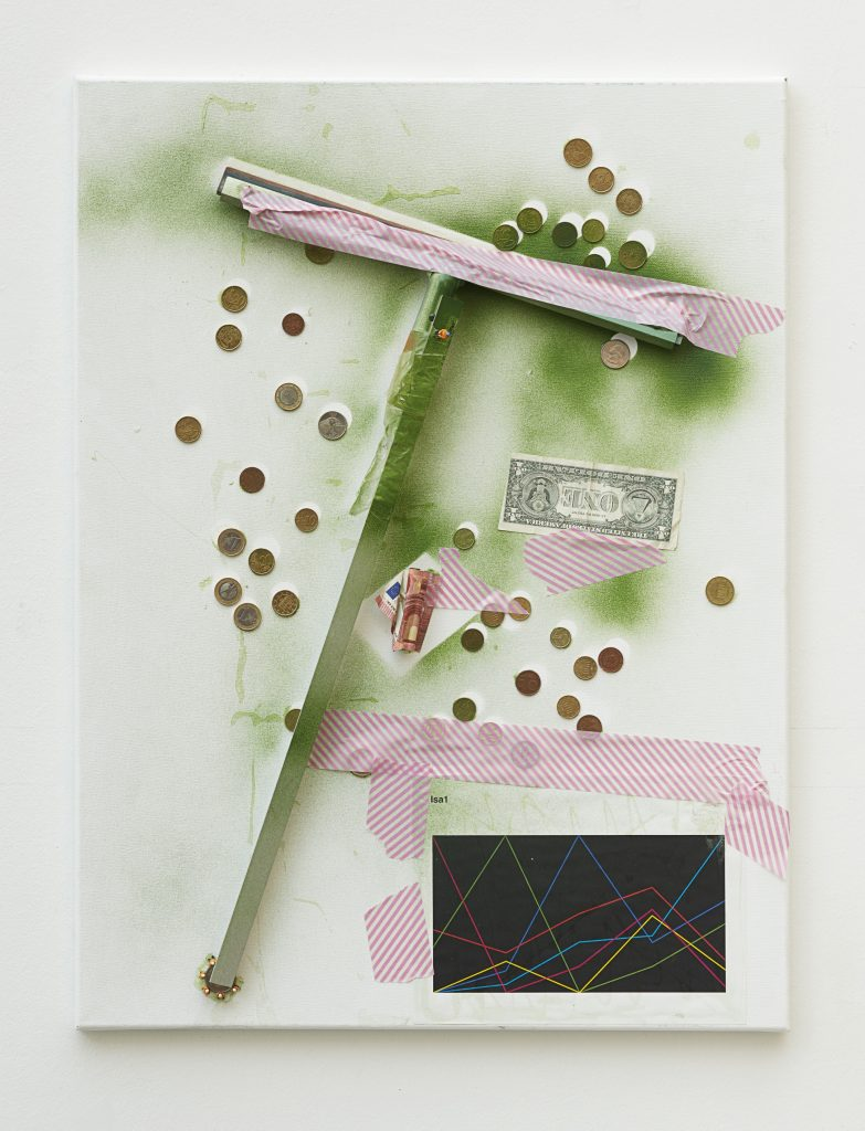 Isa Genzken, Untitled, 2016 window scraper, bills, coins, printed paper, tape, spray paint on canvas, 60 x 50.5 cm / 23 5/8 x 19 7/8 in. Courtesy the artist, Hauser & Wirth and Galerie Buchholz Cologne / Berlin / New York © Artists Rights Society (ARS) New York / VG Bild-Kunst, Bonn. Photo: Nick Ash