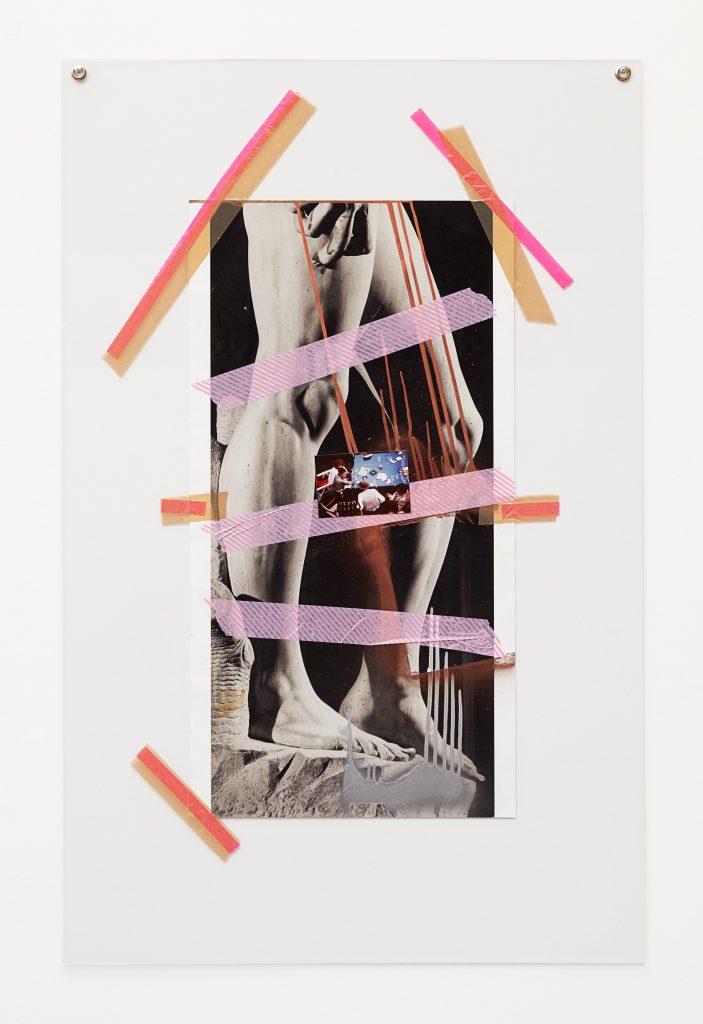 Isa Genzken, Untitled, 2016 Printed paper, photograph, lacquer, tape, mounted on plexi glass, 110 x 68 x 3 cm / 43 1/4 x 26 3/4 x 1 1/8 in. Courtesy the artist, Hauser & Wirth and Galerie Buchholz Cologne / Berlin / New York © Artists Rights Society (ARS) New York / VG Bild-Kunst, Bonn. Photo: Nick Ash