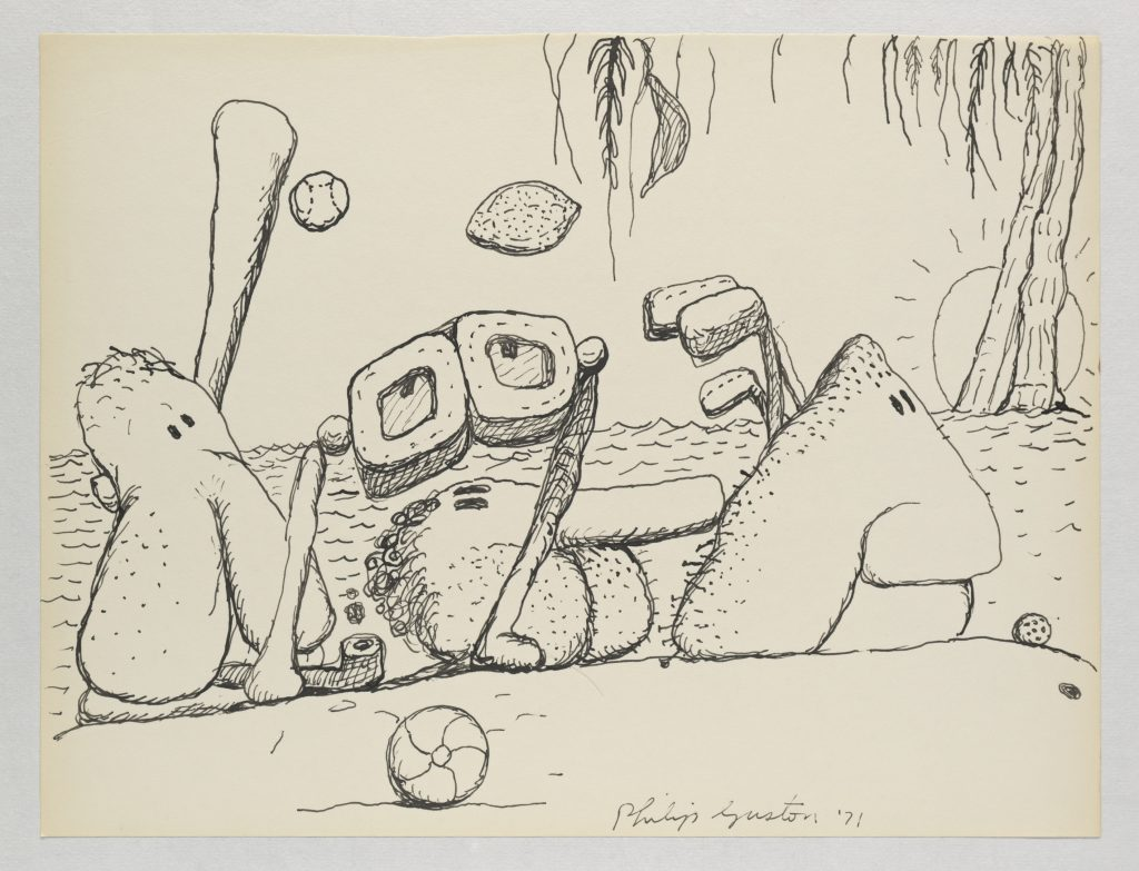 Philip Guston , Untitled (Poor Richard), 1971 Ink on paper, 26.7 x 35.2 cm / 10 1/2 x 13 7/8 in. © The Estate of Philip Guston. Courtesy Hauser & Wirth