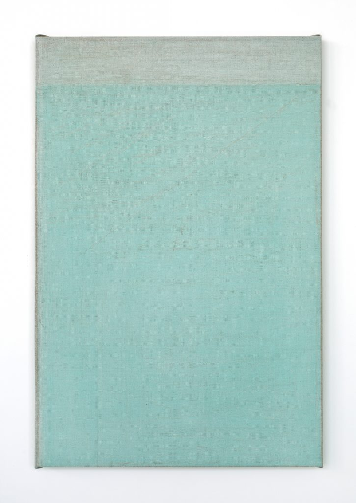 John Zurier 'Seydisfjordur (Fog)', 2016 Distemper on linen, 76.2 × 50.8 cm (30 × 20 in). Courtesy of the artist and Office Baroque, Brussels.