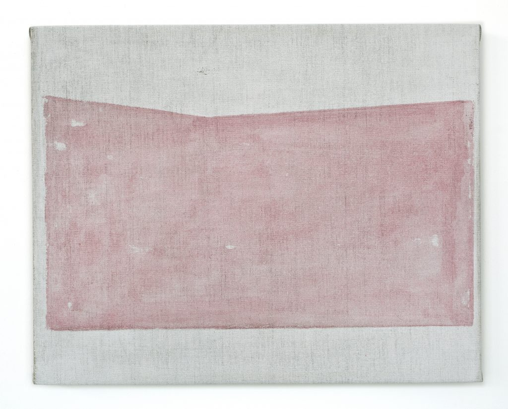 John Zurier, Untitled (Far), 2016 Distemper on linen, 40 × 50 cm (15 3/4 × 19 2/3 in). Courtesy of the artist and Office Baroque, Brussels.