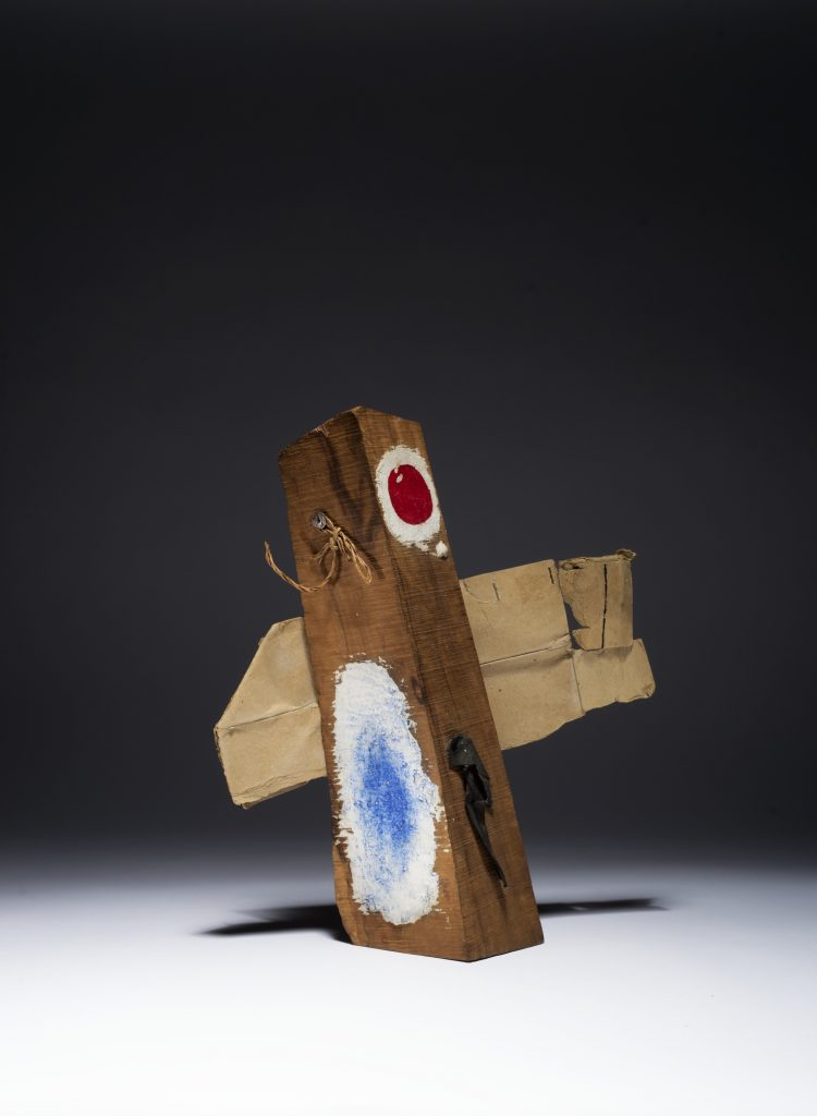 Joan Miró 'Painting-Object', 1950 Oil on log with sheet of rag, string, and ripped packing cardboard thumbtacked or nailed to the wood, 30.8 x 26.4 cm / 12 1/8 x 10 3/8 in © 2016 Artists Rights Society (ARS), New York. Courtesy Hauser & Wirth