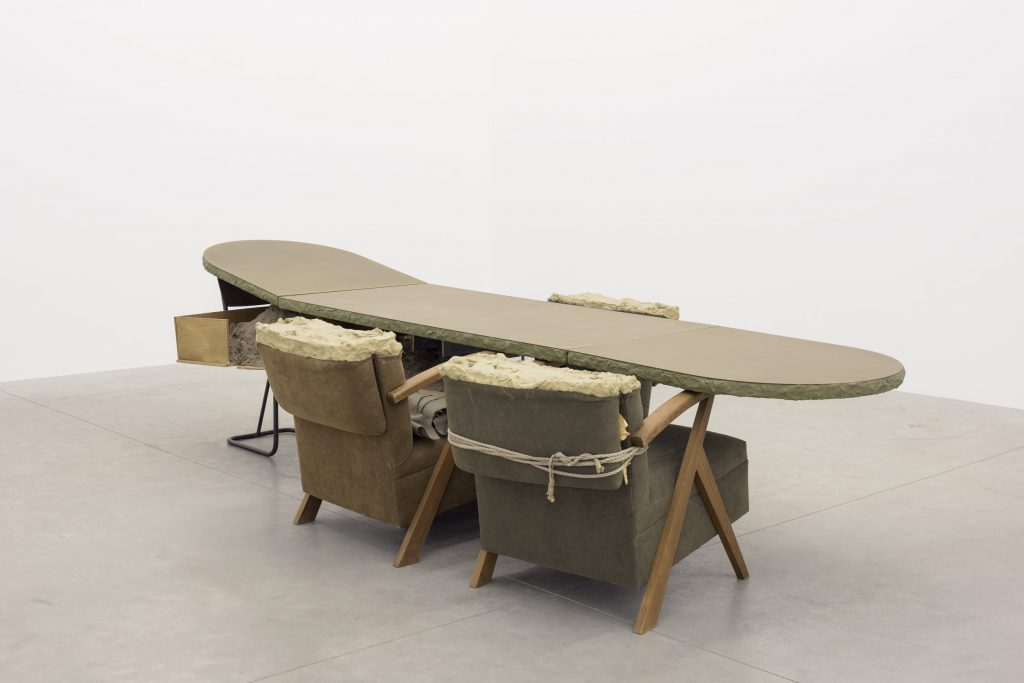 Mark Manders, 'Living Room Scene', 2008 - 2016 89,5 x 76 x 348 cm, wood, brass, iron, painted epoxy, aluminium, fabric, rope, sand, offsetprint on paper. Courtesy the artist and Zeno X Gallery. Photo: Peter Cox.