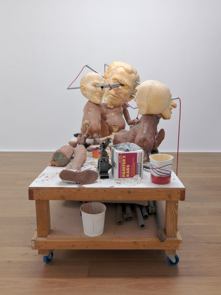 Paul McCarthy 'Puppet', 2005-2008 Platinum silicone, urethane rigid foam, polyurethane foam, fiberglass, oil based clay, nylon rope, paint, cloth, pipes, leather shoes, wood, metal, cardboard, brush, paper, tape, recorder/mixer, tools, tape, wood glue, 191.5 x 287.5 x 142 cm / 75 3/8 x 113 1/4 x 55 7/8 in. Photo: Alex Delfanne. © The artist. Courtesy Hauser & Wirth