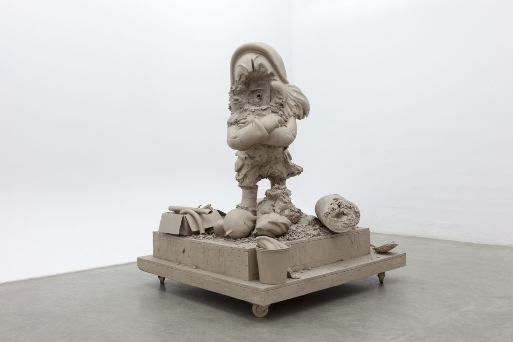 Paul McCarthy 'White Snow Dwarf, Grumpy', 2016 Bronze, 182.9 x 152.4 x 152.4 cm / 72 x 60 x 60 in Photo: Walla Walla Foundry © The artist. Courtesy Hauser & Wirth