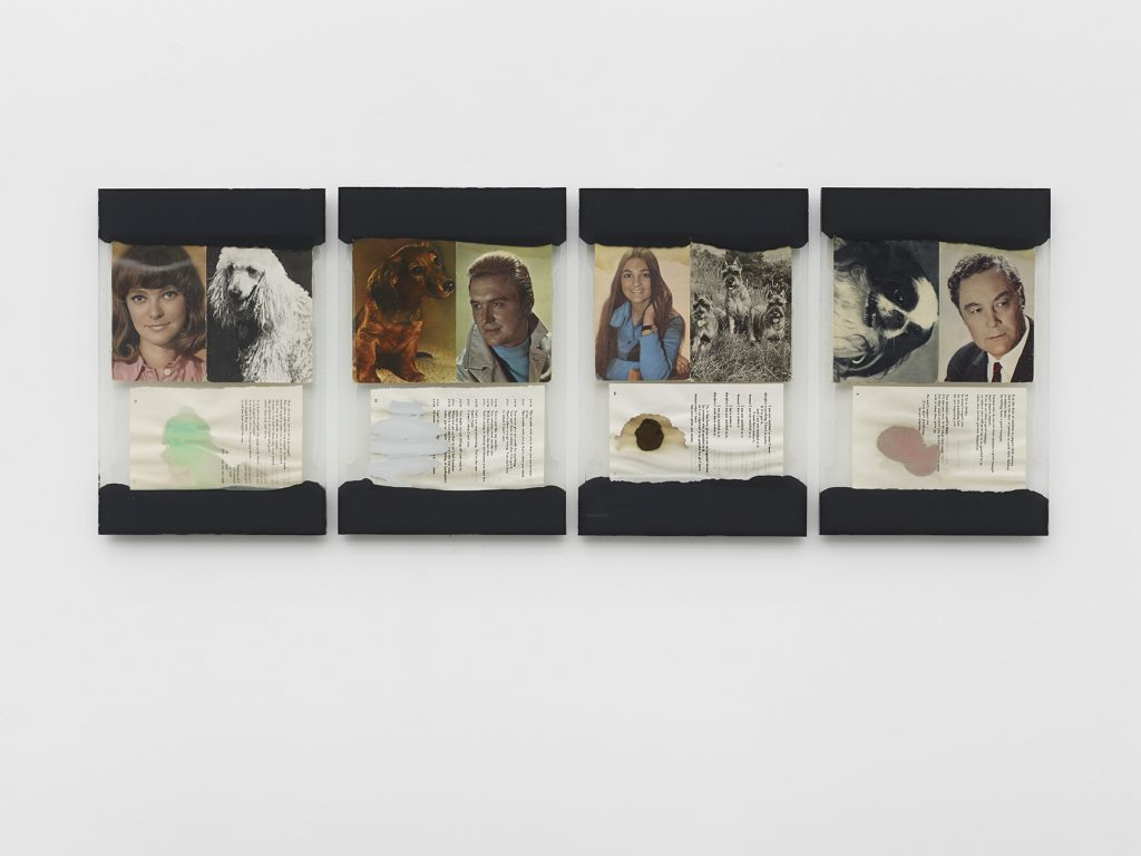 Leigh Ledare, 'The Walk', 2016 Glass, caulk, found postcards, page from R.D. Laing's book Knots, food 4 collages, each 34,9 × 22,8 cm. © Leigh Ledare - Photo : 2016 Kristien Daem Courtesy of the artist and Office Baroque, Brussels.