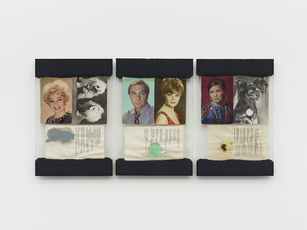Leigh Ledare, 'The Walk', 2016 Glass, caulk, found postcards, page from R.D. Laing's book Knots, food 3 collages, each 34,9 × 22,8 cm. © Leigh Ledare - Photo : 2016 Kristien Daem Courtesy of the artist and Office Baroque, Brussels.