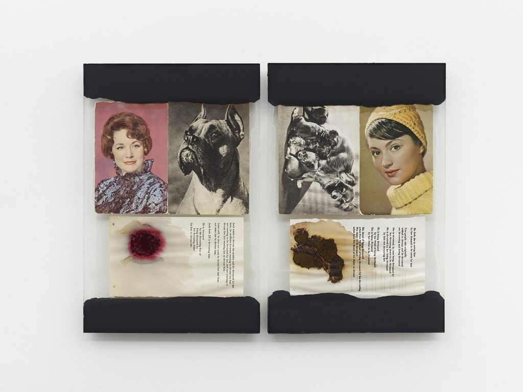 Leigh Ledare, 'The Walk', 2016 Glass, caulk, found postcards, page from R.D. Laing's book Knots, food 2 collages, each 34,9 × 22,8 cm. © Leigh Ledare - Photo : 2016 Kristien Daem Courtesy of the artist and Office Baroque, Brussels.