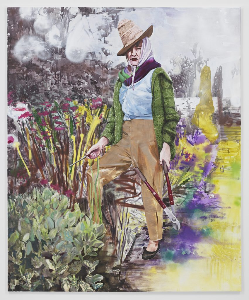 'The Gardener after Valerie Finnis', 2016 oil and acrylic on canvas 86 5/8 x 70 7/8 inches 220 x 180 cm. Courtesy Metro Pictures.
