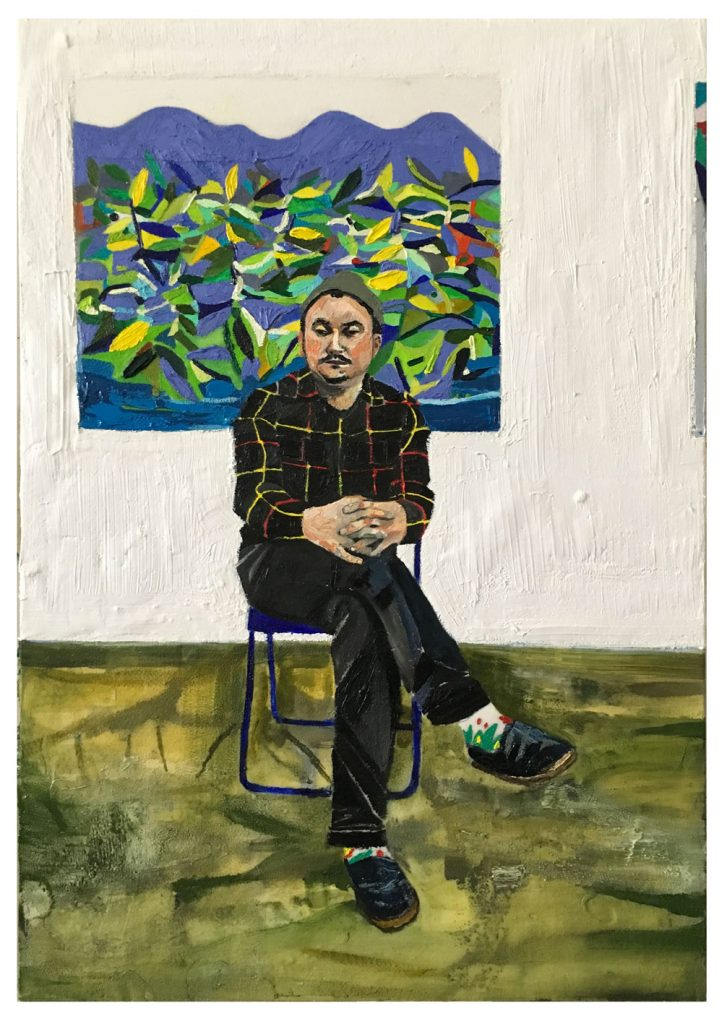 RAFFI KALENDERIAN 'Darcy in the Studio', 2016 Oil and cold wax on canvas, 36 × 24 in, 91.4 × 61 cm. Courtesy Brand New Gallery.