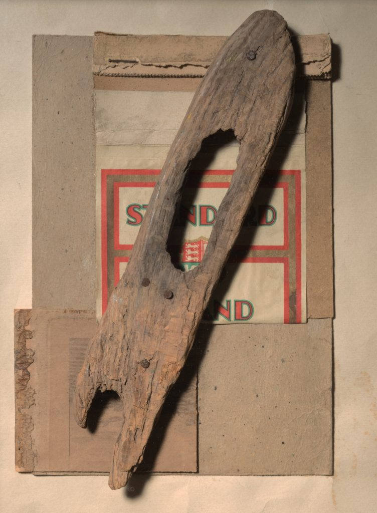 Kurt Schwitters, Ohne Titel (STANDARD, mit Holz ), (Untitled [STANDARD, with Wood]), 1947 Assemblage, paper, wood, and paperboard on paperboard, nailed, 32 x 25 cm / 12 5/8 x 9 7/8 in © 2016 Artists Rights Society (ARS), New York Courtesy Kurt and Ernst Schwitters Foundation and Hauser & Wirth